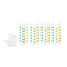 Dortové svíčky DEL.KIDS 8 cm, 12ks, modrá