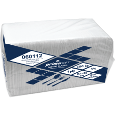 Ubrousky PrimaSoft gastro classic 500 ks, 33x33, 1-vrstvý, bílý, 100% celulóza