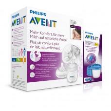 PHILIPS AVENT Odsávačka mateřského mléka Natural se zásobníkem + VIA 5ks