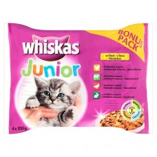 Kap.WHISKAS Junior masovy vyber ve stave 4ks 400g